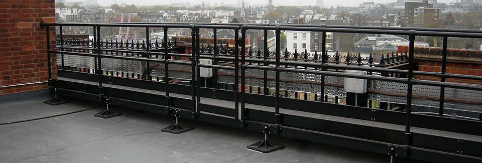 Listed building walkway powder coated black for compliance with conservation